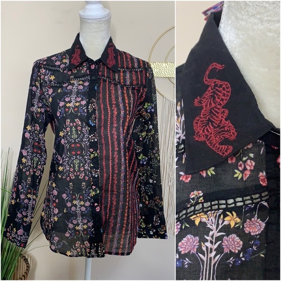 nwt // desigual embroidered tiger floral shirt